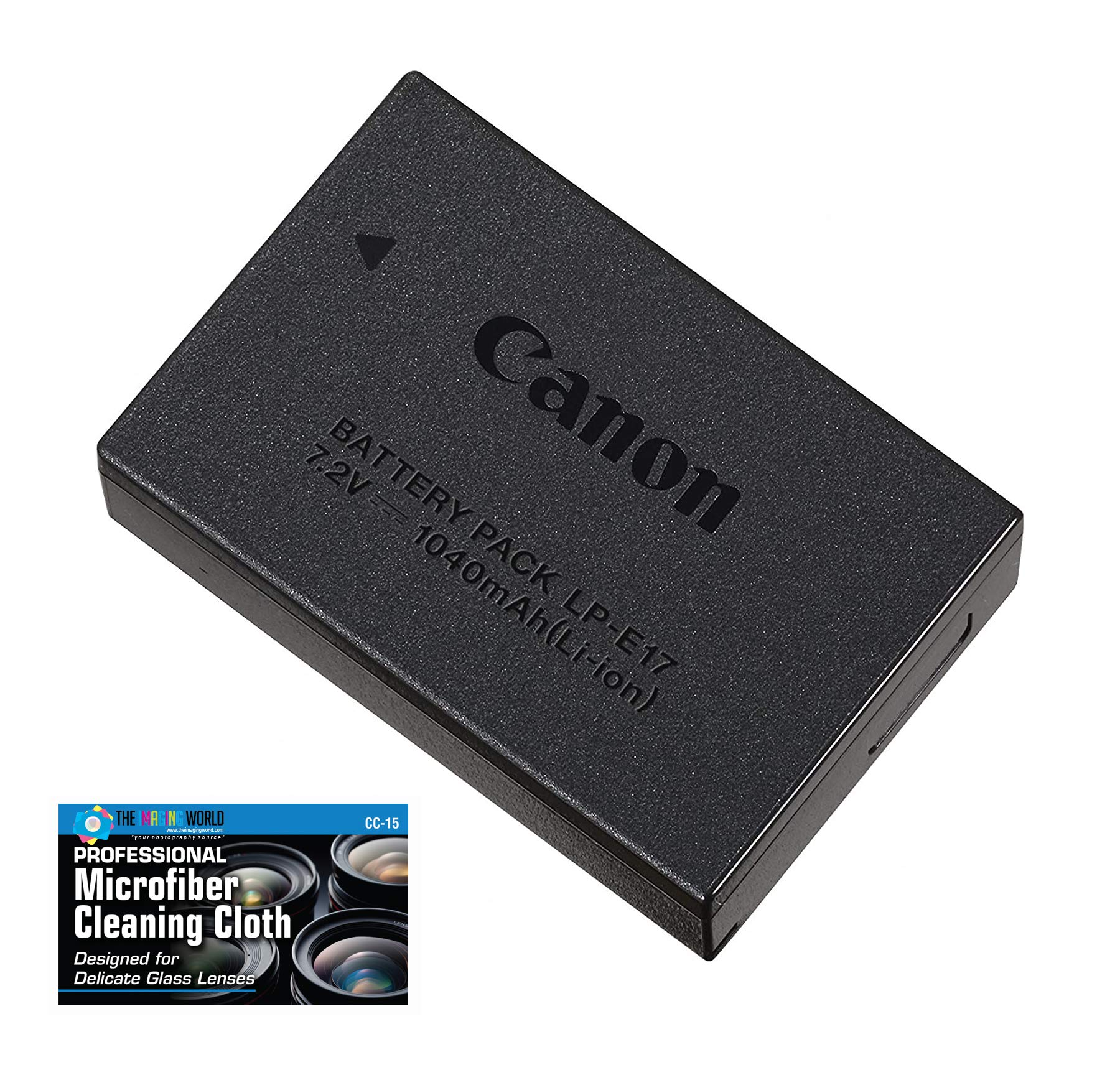 Canon LP-E17 Rechargeable Lithium-Ion Battery Pack for Canon EOS RP, 77D, M6, M6 Mark II, M5, M3, Rebel T8i, T7i, T6i, T6s, SL3, SL2 Camera Kit - Retail Packaging -with Micro Fiber Cloth