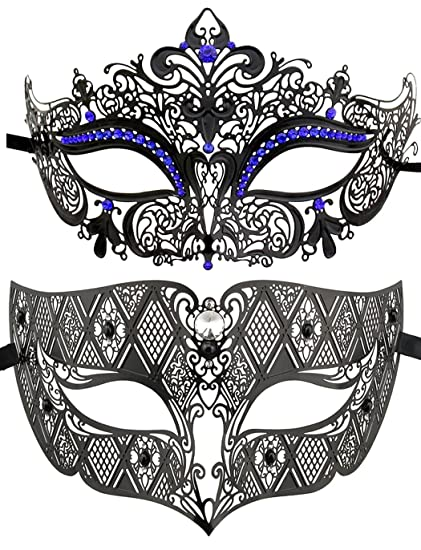 Juego de 2antifaces estilo veneciano, máscaras con un estilo lujoso,