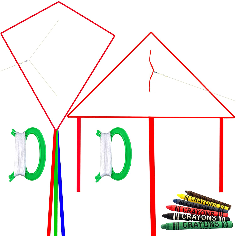 HENGDA KITE DIY ブランクペインティングカイト 子供用 シングルライン 6色クレヨン 2ハンドル フライングライン付き 1ダイヤモンドカイト 1トライアンジェルカイト 2ピース B07PH3TB3T