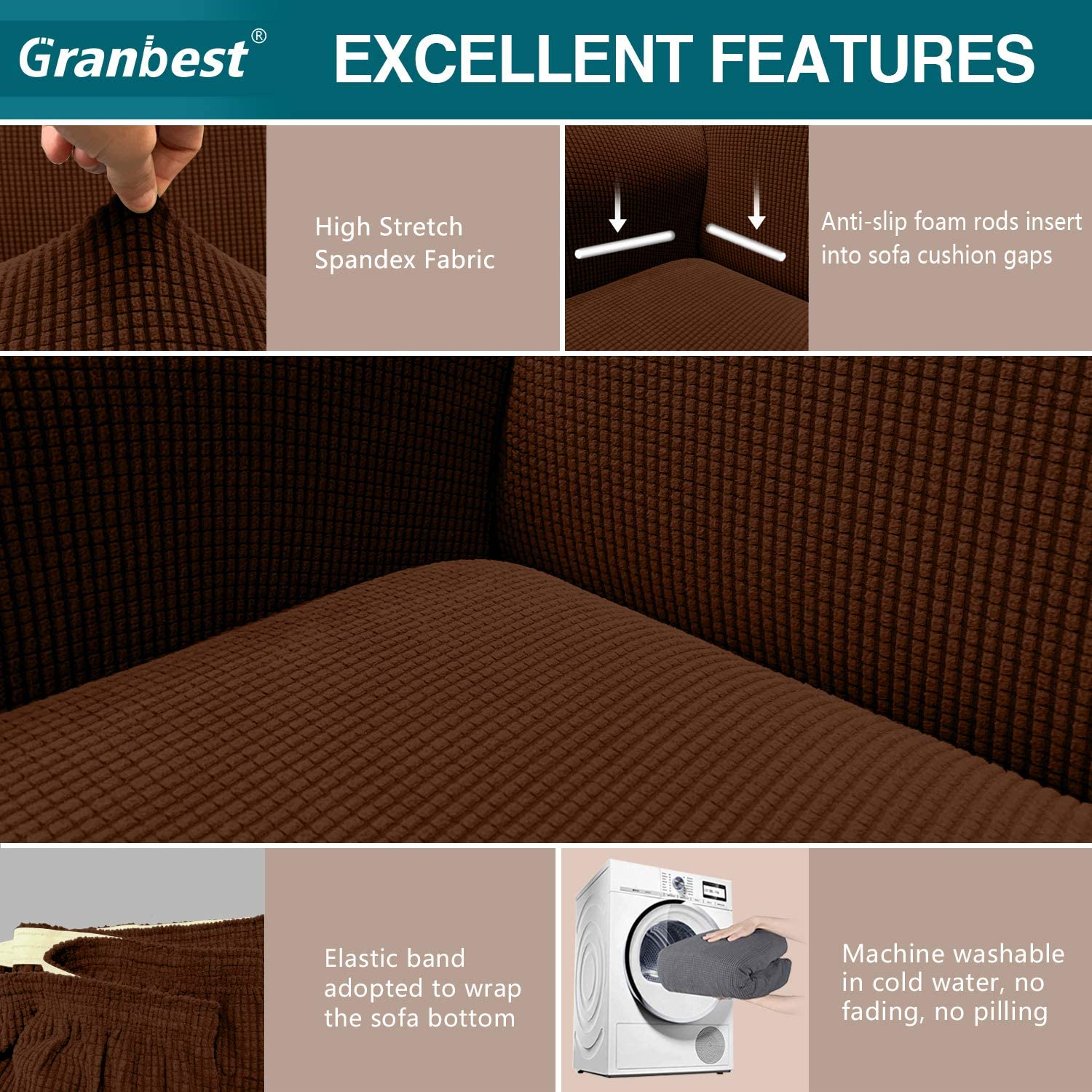 Granbest High Stretch Armchair Covers Super Soft Chair Covers for Living Room Jacquard Sofa Cover for Dogs Non Slip Chair Slipcover with Arms Furniture Protector 1 Seater, Chocolate