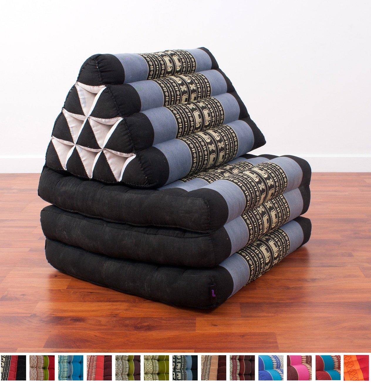 Leewadee Foldout Triangle Thai Cushion, 67x21x3 inches, Kapok Fabric, Blue, Premium Double Stitched by Leewadee