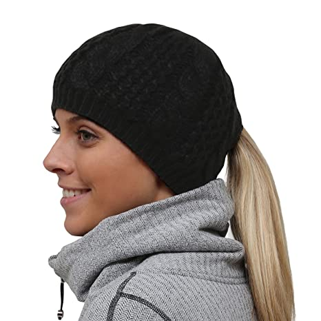 b57d5efbaadae Amazon.com  TrailHeads Women s Cable Knit Ponytail Beanie - Black ...