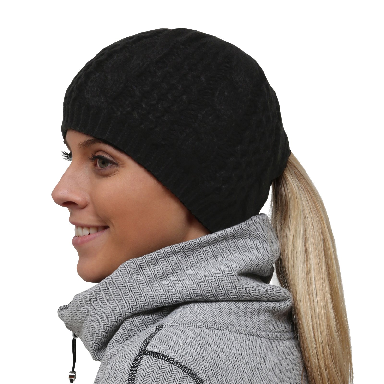 TrailHeads Women's Cable Knit Ponytail Beanie - black