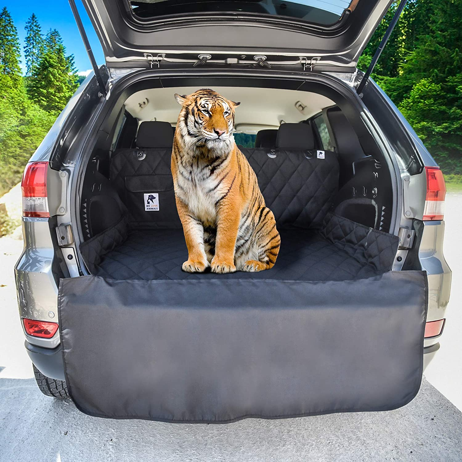 Dog Car Seat Cover Cargo Liner rear Bench Convertible Hammock Shaped Comfort Accessory for Cars, SUVs, Trucks Carriers. Waterproof, Nonslip, Washable Pet Backseat Protector, Pets Blanket Bag