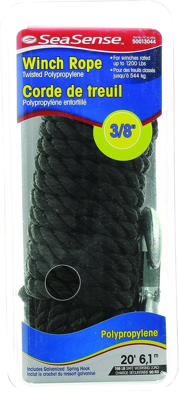 Black Unified Marine Inc 50013044 SeaSense 3//8 X20 PP Twisted Rope