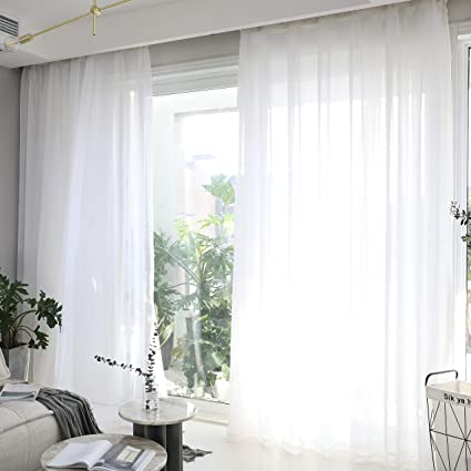 Home Brilliant Bedroom Curtains Ring Top White Sheer Window Curtain Panels  for Patio, 54 x 84 inches, White
