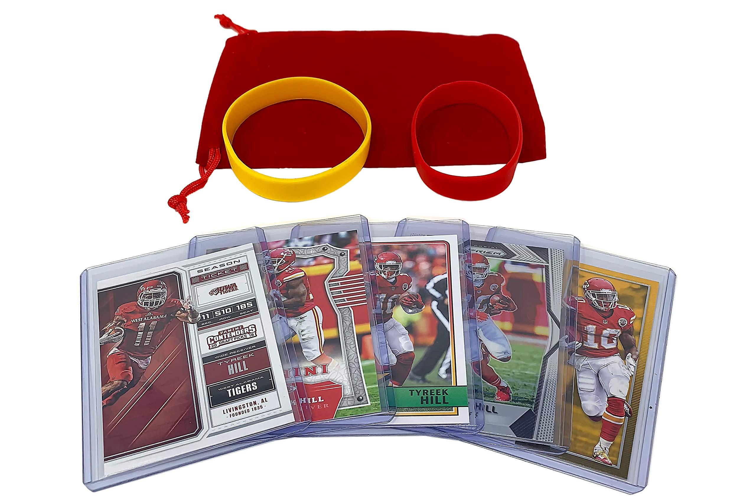 Tyreek Hill Football Cards (5) Assorted Bundle Kansas City Chiefs Trading Card Gift Set