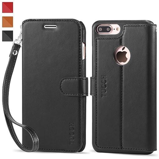 5 opinioni per Custodia iPhone 7 Plus, TUCCH Cover in Pelle [GARANZIA DI VITA], [Pellicole