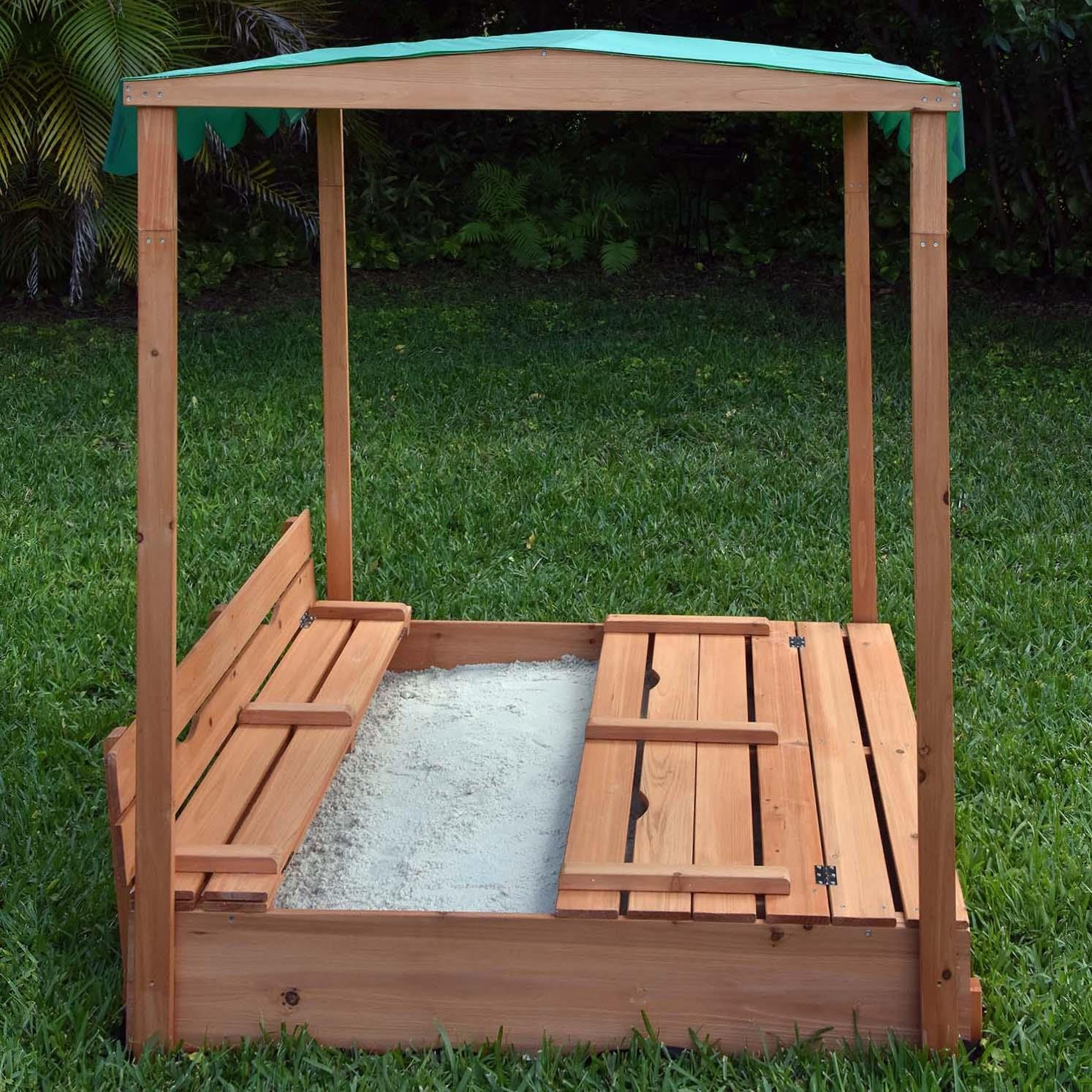 Naomi Home Kids Canopy Cedar Sandbox with Benches by Naomi Home (Image #4)