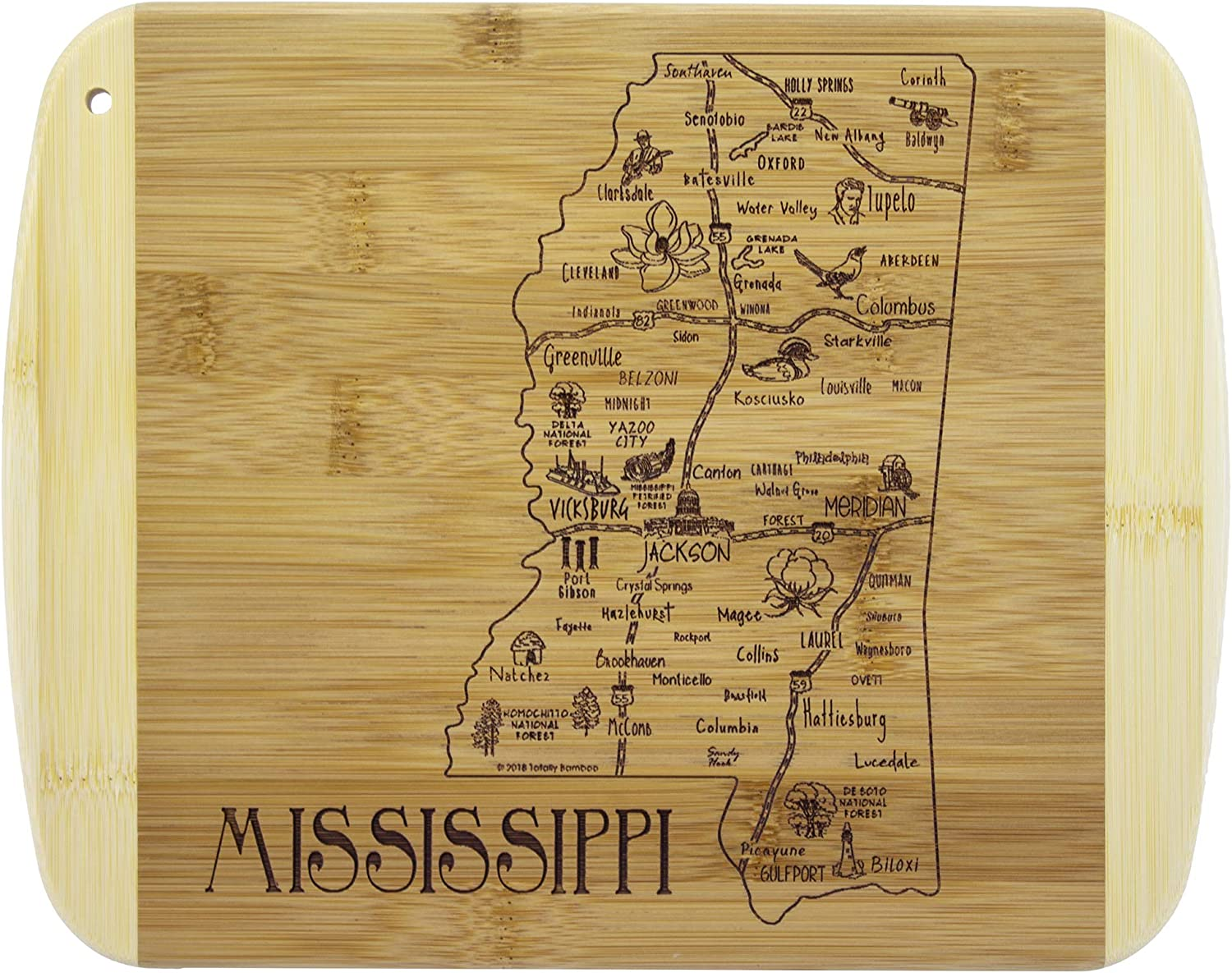 Totally Bamboo A Slice of Life Mississippi Bamboo Serving and Cutting Board