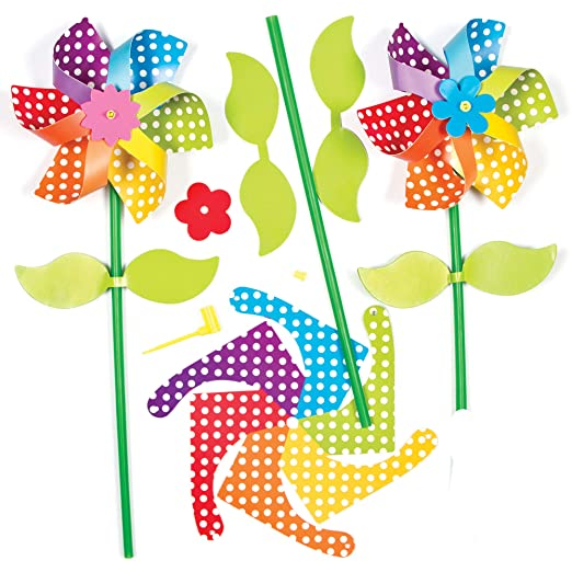 Baker Ross AG309 Make Your Own Spring Flower Windmill, Pinwheel Kits For Kids To Decorate in Arts and Crafts (Pack of 6), 13cm, Assorted