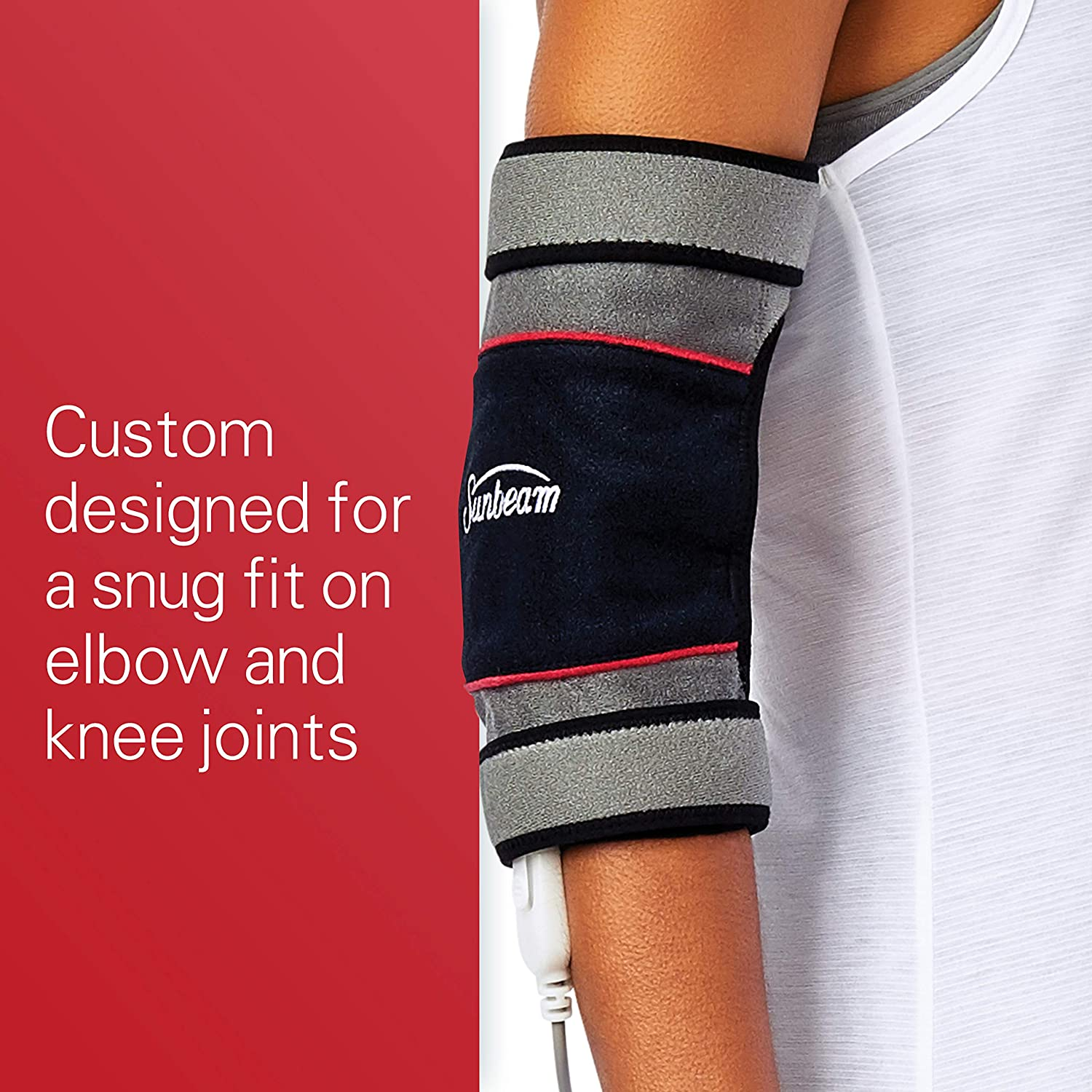 Sunbeam Flextemp Joint Wrap for Pain Relief Hot & Cold Therapy for Elbow or Knees Heating Pad With 3 Heat Settings & 2 Hour Auto-off: Health & Personal Care