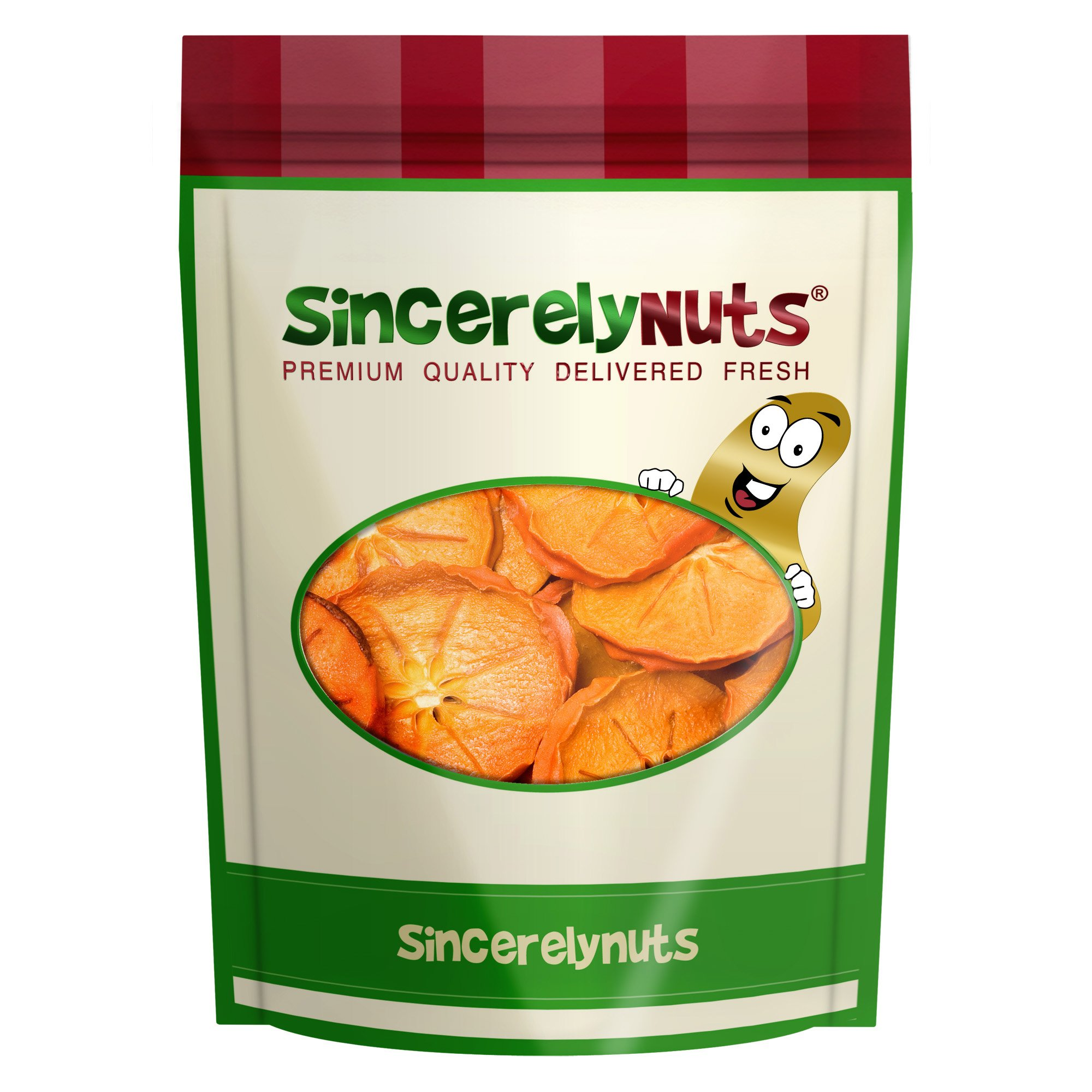 Sincerely Nuts Dried Persimmon Slices - One Lb. Bag - Heavenly Taste - Outstanding Texture & Color - Bursting with Nutrients