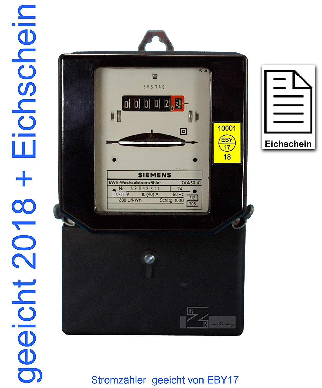 Wechselstromzä hler 10/40 Amp. geeicht mit Eichschein (Zertifikat) max. 9, 2kW von Prü fstelle EB17 BZR (EB17) 1210402000