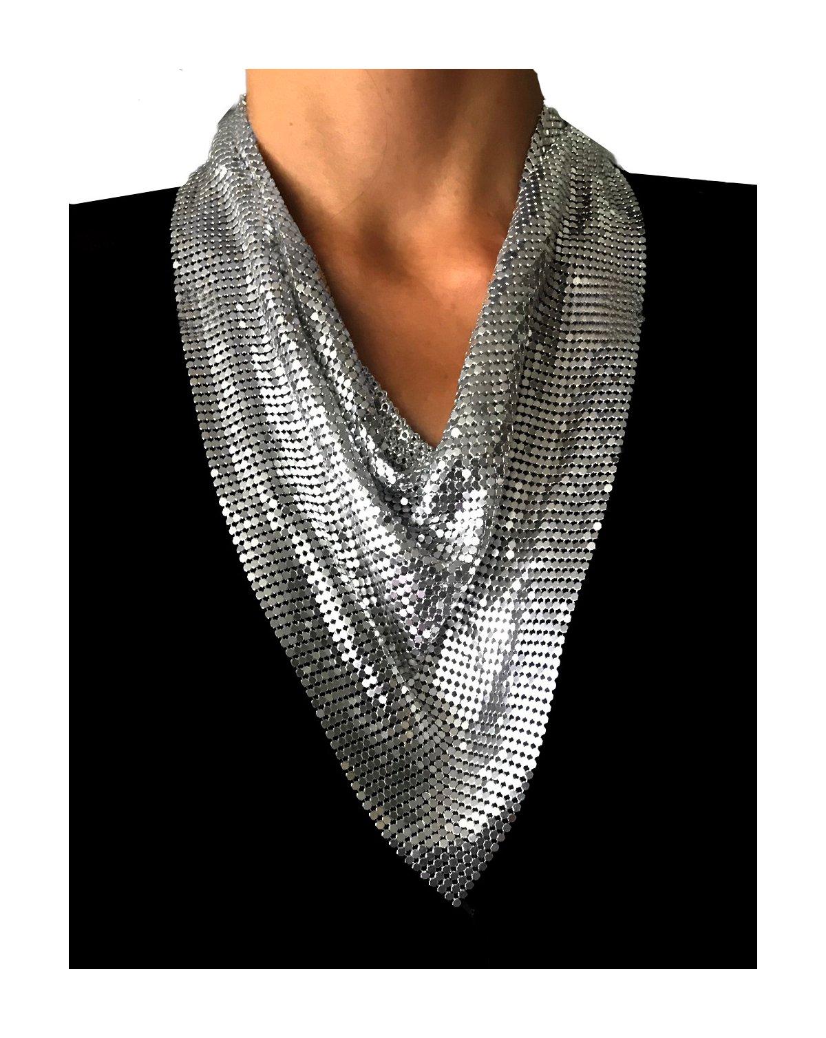 Nataliya Short Collar Statement Necklace (metal mesh scarf silver collar)