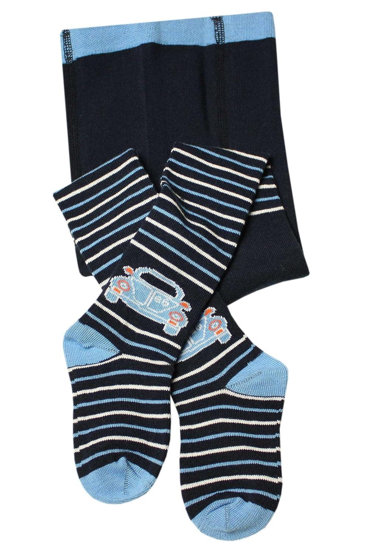 Weri Spezials Baby und Kinderstrumpfhose in Marine Auto+Ringel Motiv