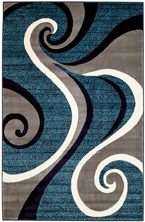 Amazon Com New Swirl Design Blue Navy White Light Gray Area Rug