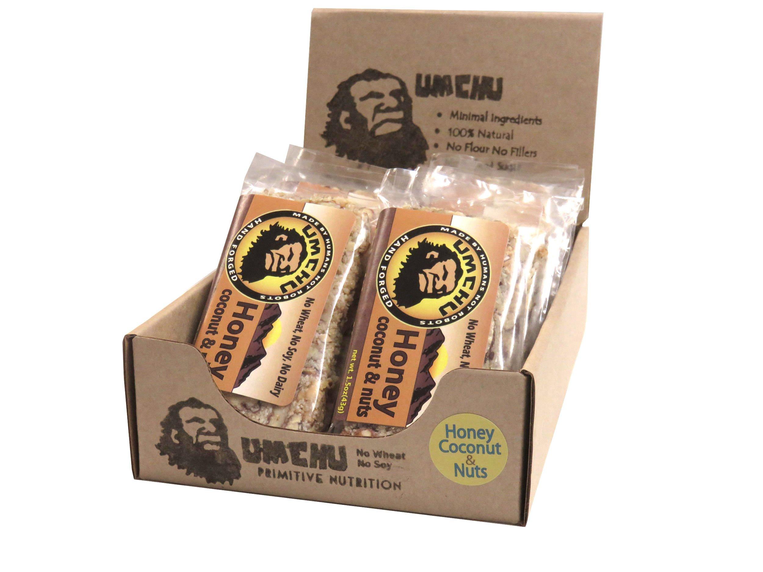 Honey Coconut & Nuts Umchu Bar (Box of 12) Paleo, Gluten Free, Dairy Free