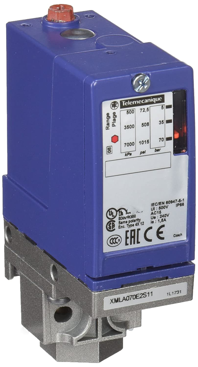 Schneider Electric XMLA070E2S11 Pressure Switch 1CO 70Bar, Electromechanical 70Bar Hydraulic Oils,Fresh Water,Sea Water,Air,Corrosive Fluid