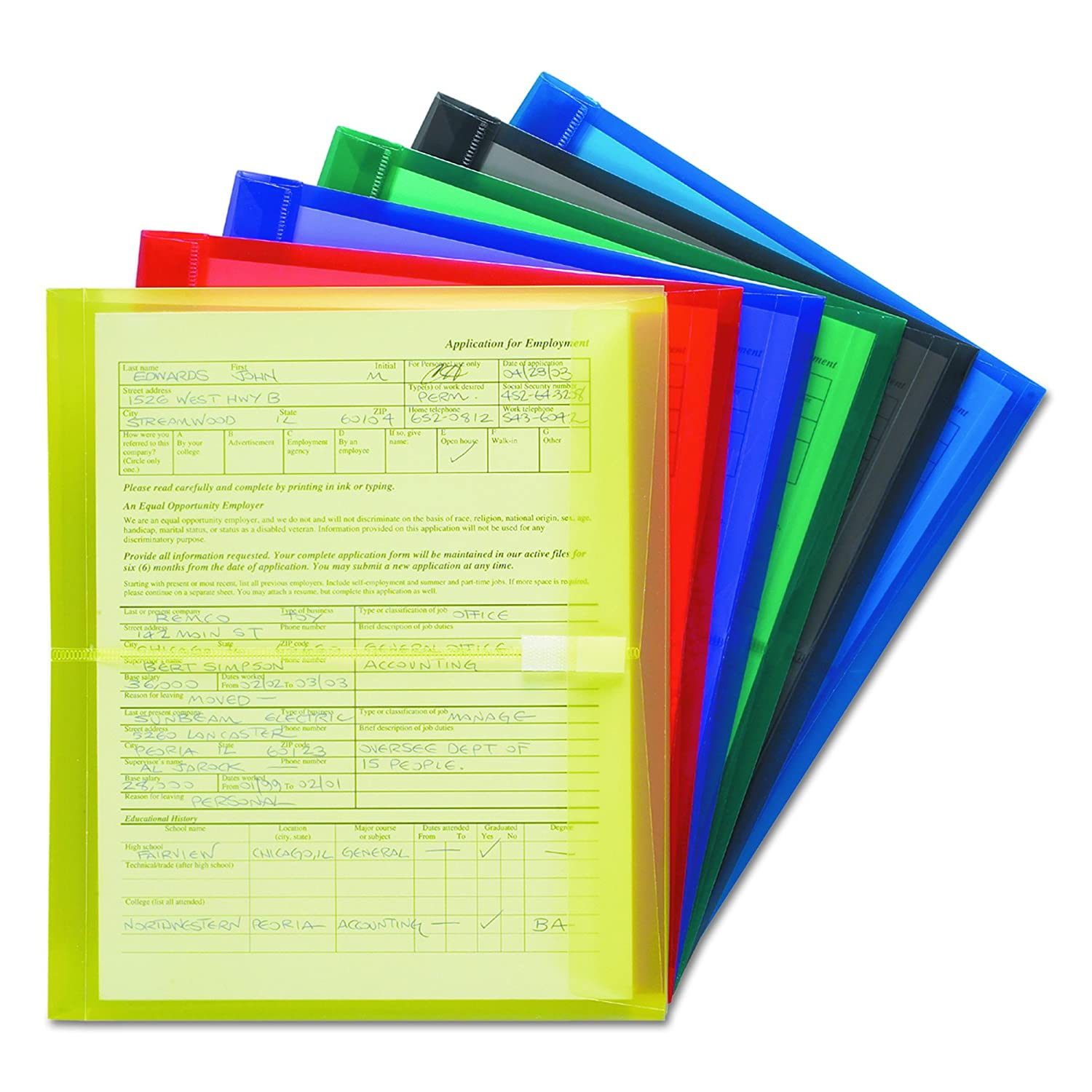 Smead Envelopes with 1.1/4 -Inch Expansion, Polypropylene, Letter Size, 8.5 x 11, Blue/Green/Purple/Red/Smoke/Yellow, 6 Per Pack (89669)