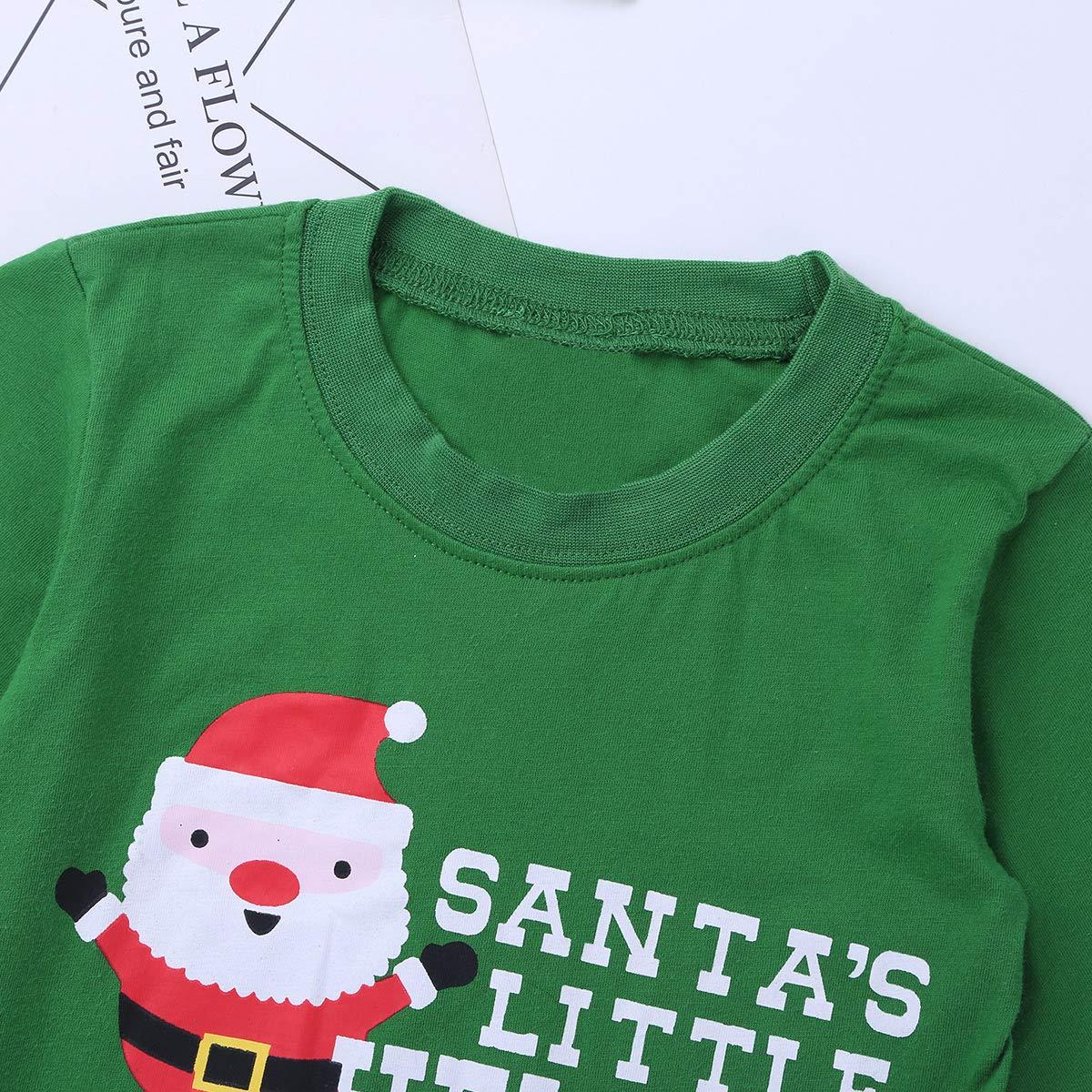 dPois Kids Boys Girls Christmas Santas 2Pcs Pajamas Set Cotton Long Sleeves Sleepsuit Sleepwear T-Shirt with Pants