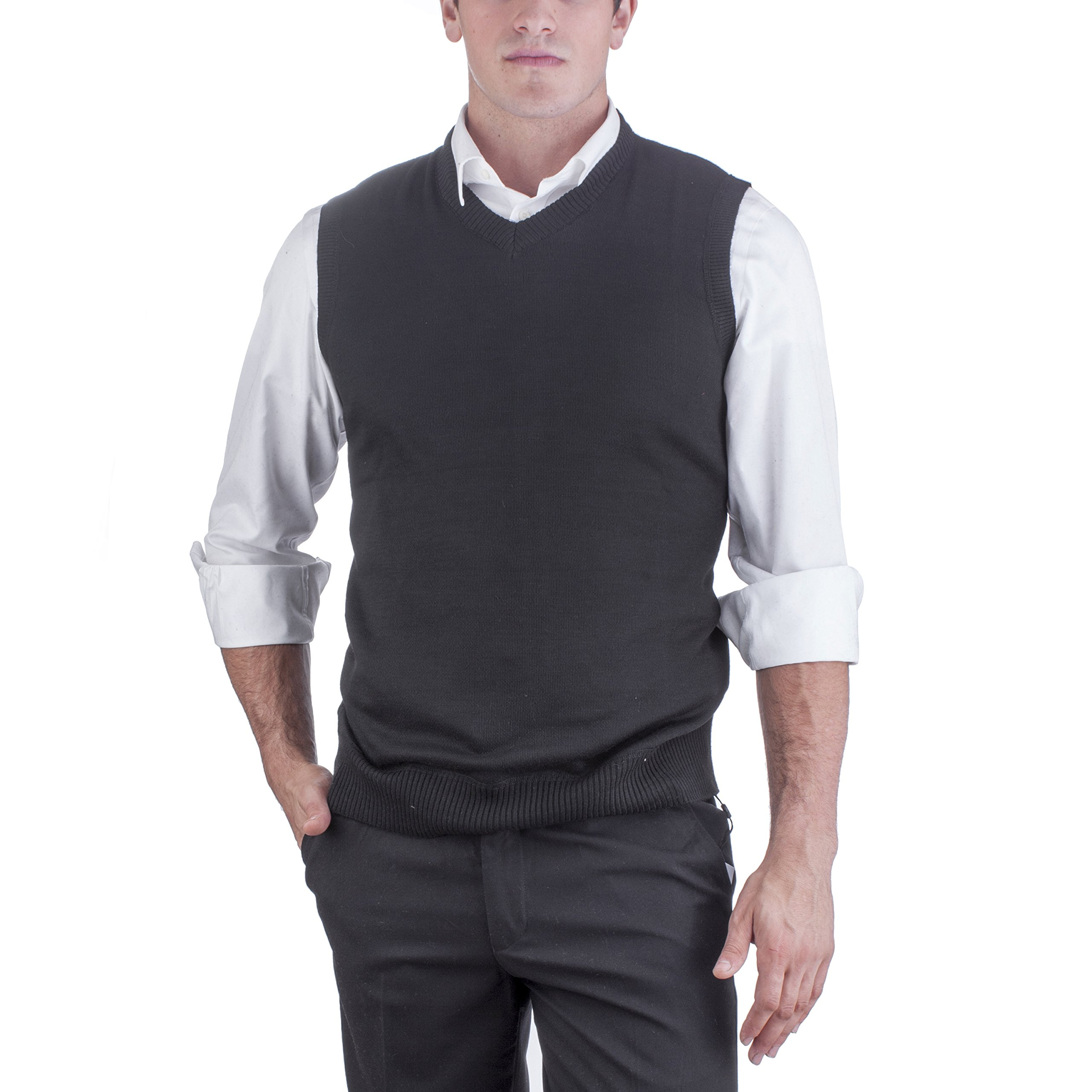 Alberto Cardinali Men's Solid Color V-Neck Sweater Vest SVS1 (Large, Black)