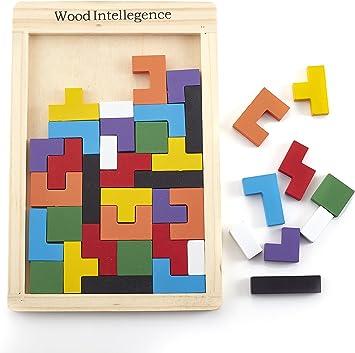 Bromista de Tetris de Juegos de Cabeza de Juguete de Puzzle de Tetris de Madera Inteligente