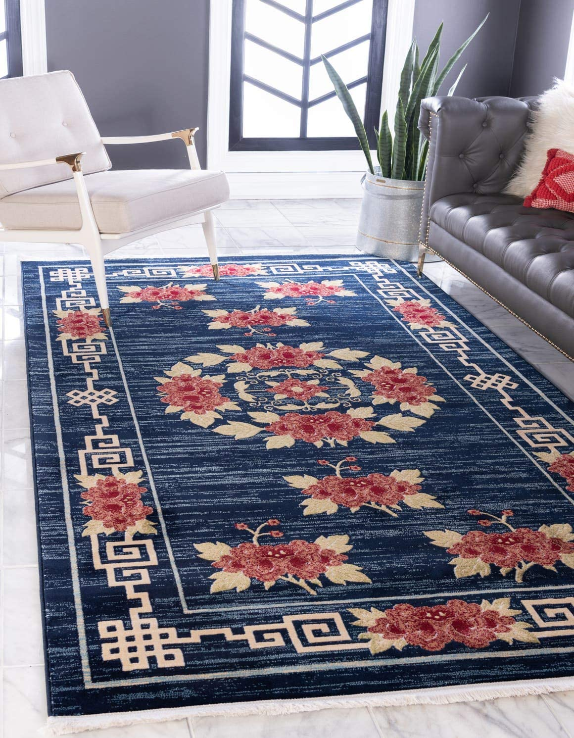 Unique Loom Gansu Collection Antique Finish Floral Chinese Pattern Navy Blue Area Rug 5 0 x 8 0