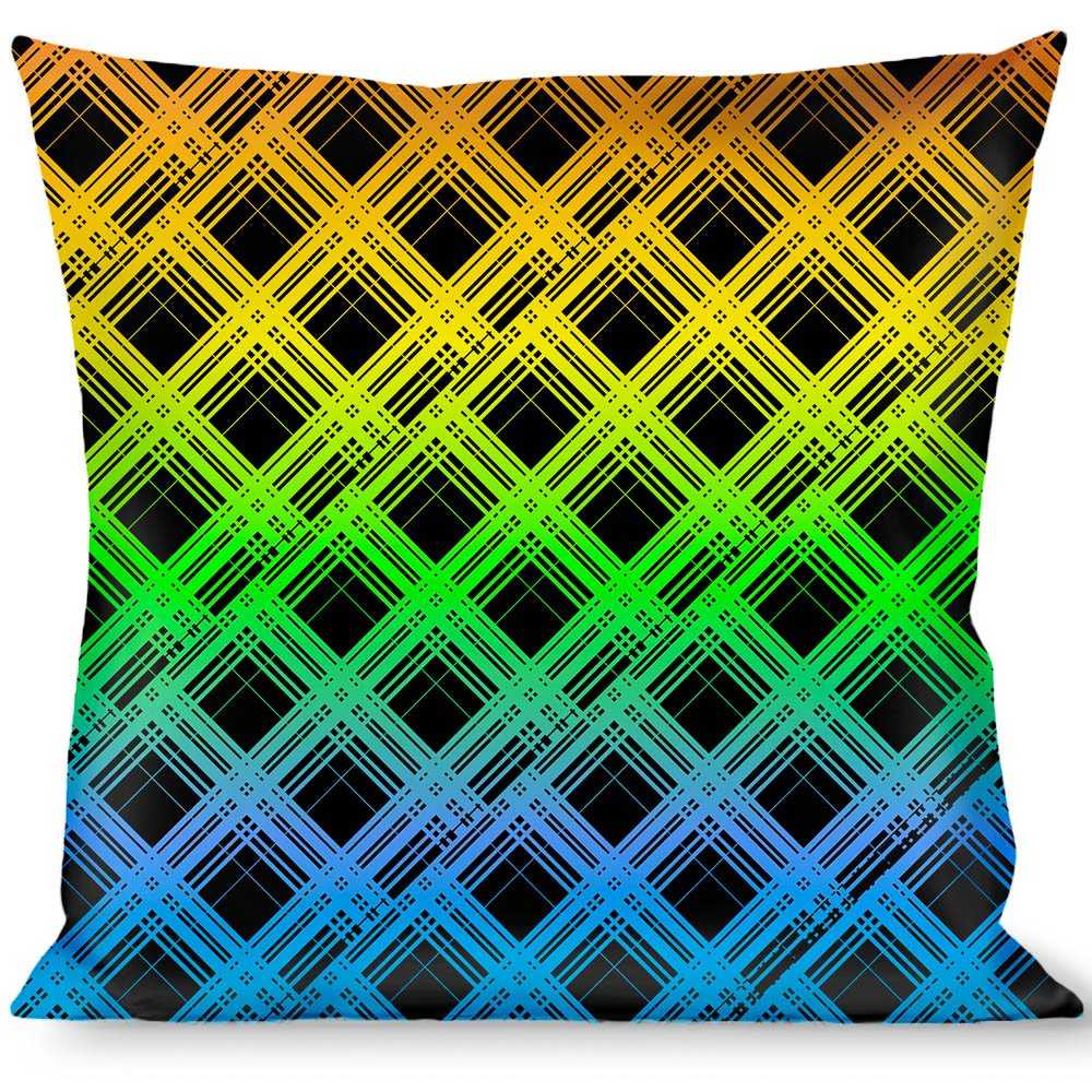Buckle Down Plaid X Gradient Black//Orange//Green//Blue Throw Pillow Multicolor