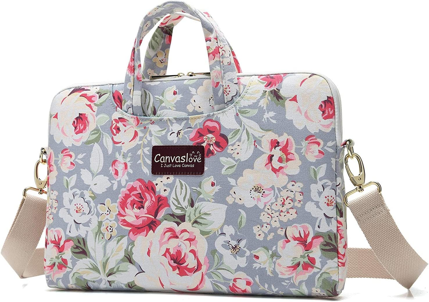 Canvaslove Blue Rose Pattern Water Resistant Laptop Shoulder Messenger Bag for MacBook Pro 15 inch,MacBook 16 inch and 14 inch,15.4 inch,15.6 inch Laptop