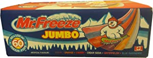 Mr. Freeze Jumbo Ice Pops, 150ml/5oz, 60 Pack, Imported from Canada}