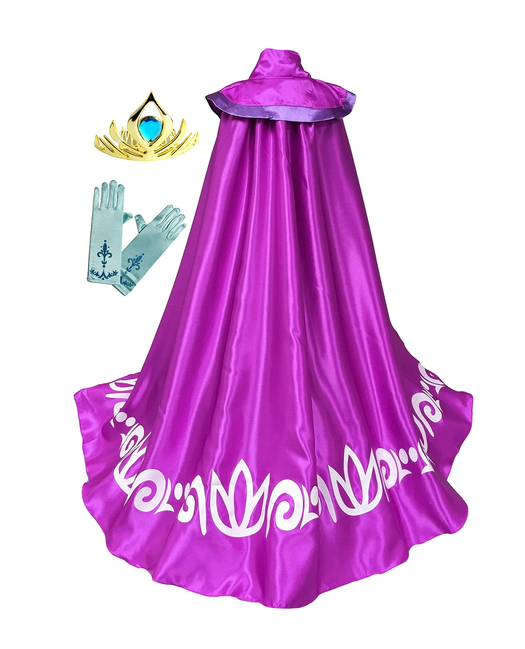 American Vogue Frozen Anna ELSA Coronation Costume Girl's Long Cape Cloak + Gloves +Tiara Crown (4 Years, Purple)