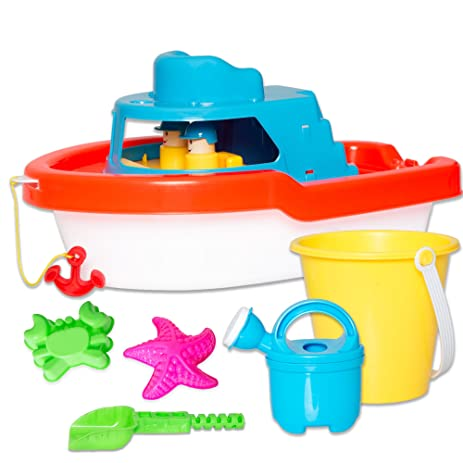 Beau Bath U0026 Beach Boat Toy Playset   6 Piece Kids Bathtub Toys Set For Boys U0026