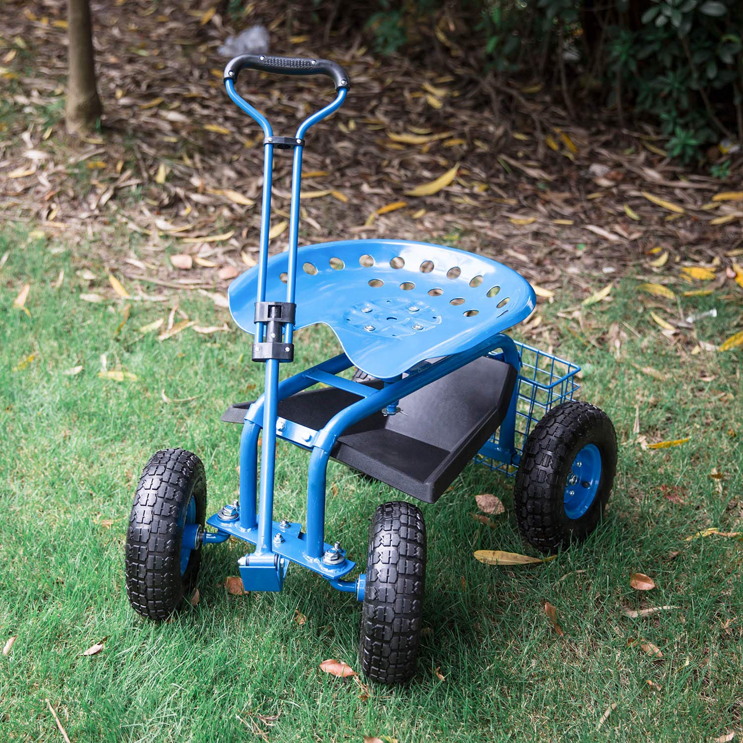 Kintness Garden Cart Rolling Work Seat With Tool Tray Outdoor Utility Lawn Patio Yard Wagon Scooter For Planting Blue Garden Outdoor Dprd Tasikmalayakab Go Id