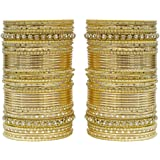 MUCH MORE Limited Edition Of 86 Punjabi Wedding Bangle Women and Girls (DULL GOLD)