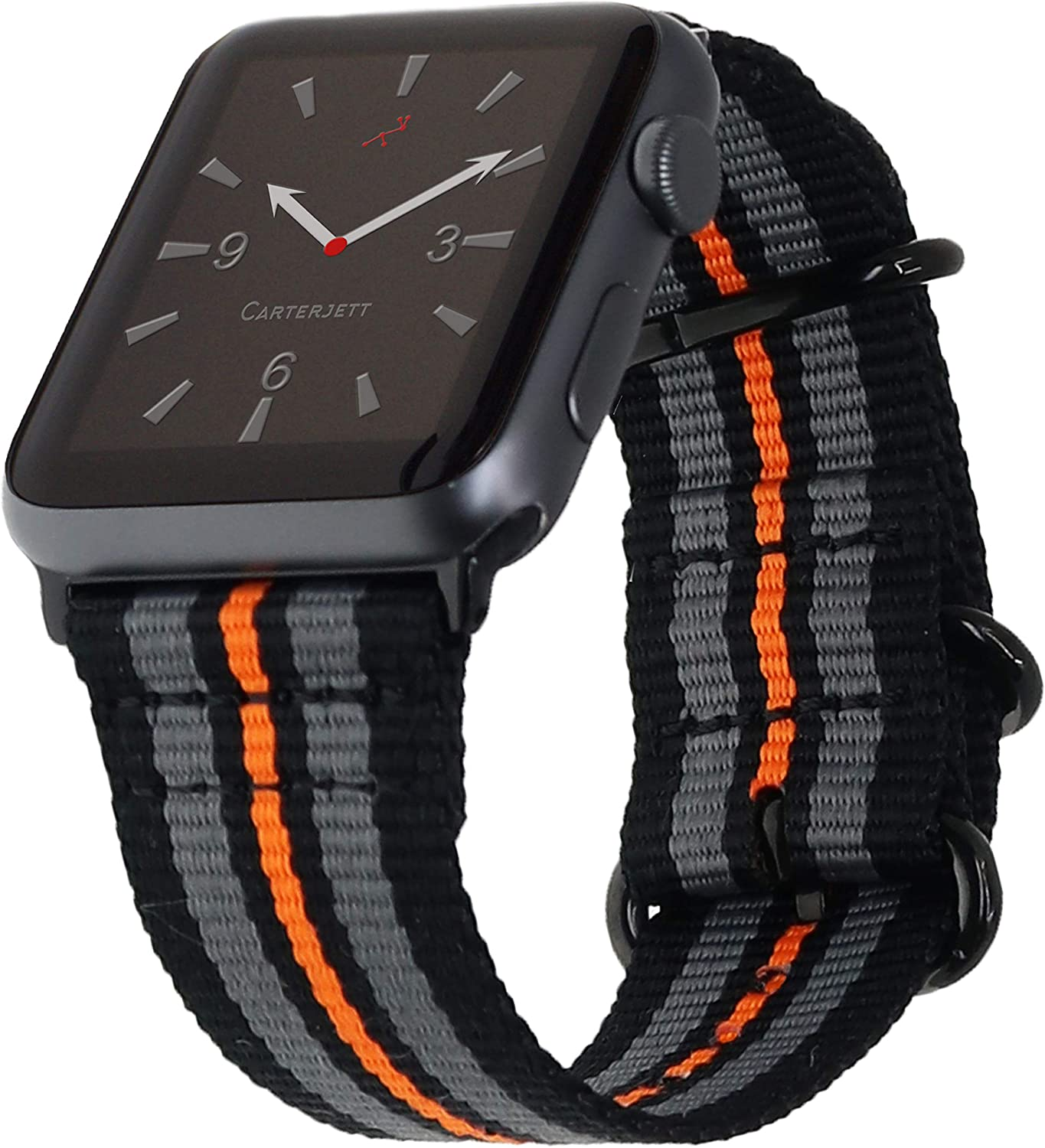 """Carterjett Extra Large Nylon Compatible with Apple Watch Band 42mm 44mm XL Black Replacement iWatch Band 8-10.5"""" Wrists Long Woven Military Loop for Series 5 4 3 2 1 Sport (42 44 XXL Racing Stripe)"""