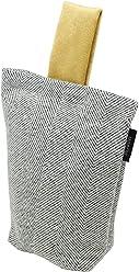 McAlister Boutique Herringbone Plush Unfilled Decorative Door Stopper Wedge Small Bean Bag | 8x6 Charcoal Gray | Linen Farmhouse Cabin Accent Decor