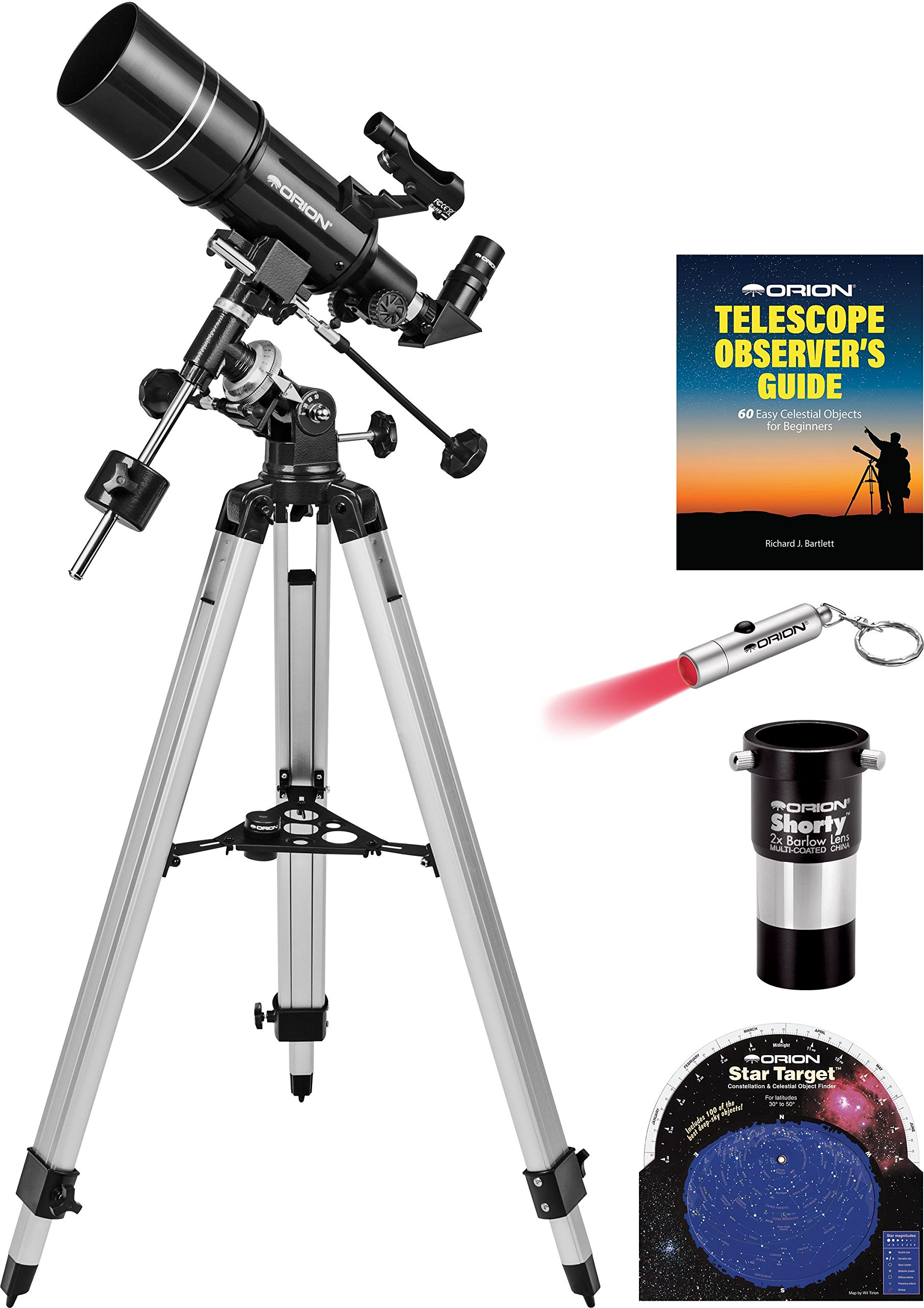 Orion Observer 80ST 80mm Equatorial Refractor Telescope Kit by Orion