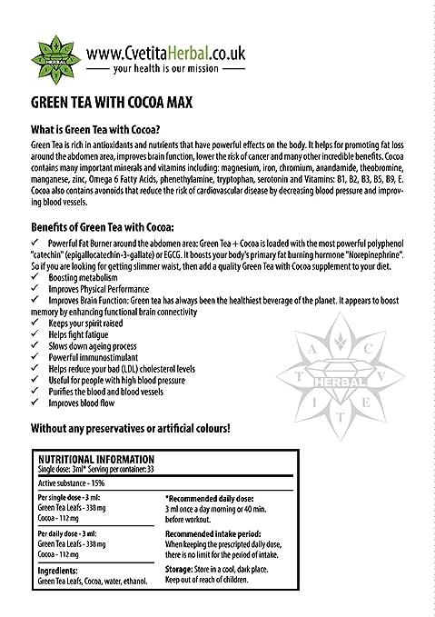 Cvetita Herbal,3 x Té verde con del Cacao,3x 100 ml Sérum líquido de extracto de pérdida de gestión de peso natural, Propulseur de metabolismo y soporte de ...