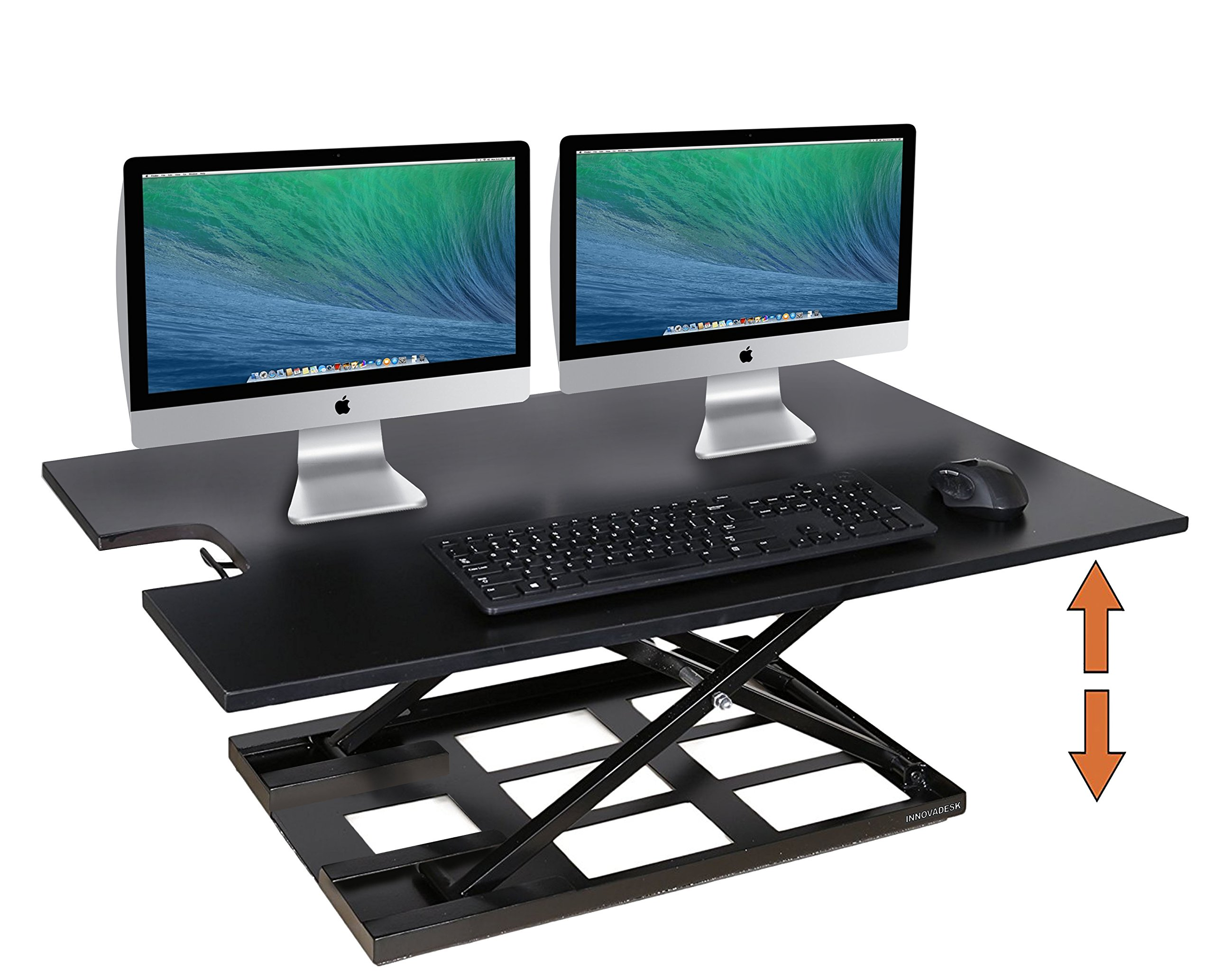Standing Desk Converter-INNOVADESK 36-24 inches- Basic Height Adjustable desk – Sit Stand Desk Converter - Laptop Desk Riser- The Best Adjustable Standing Desk- Preassembled desk (Black)