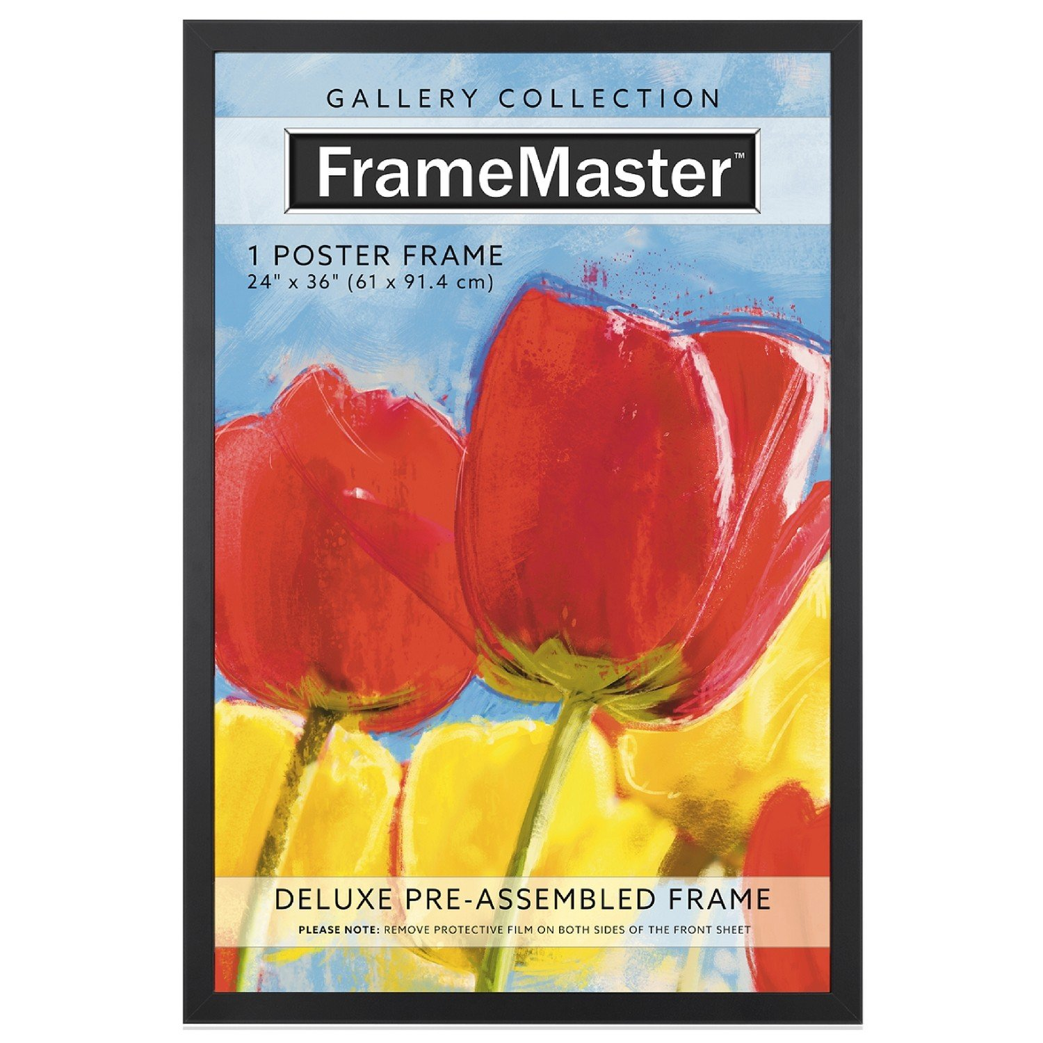 framemaster 24x36 poster frame black wood composite gallery edition