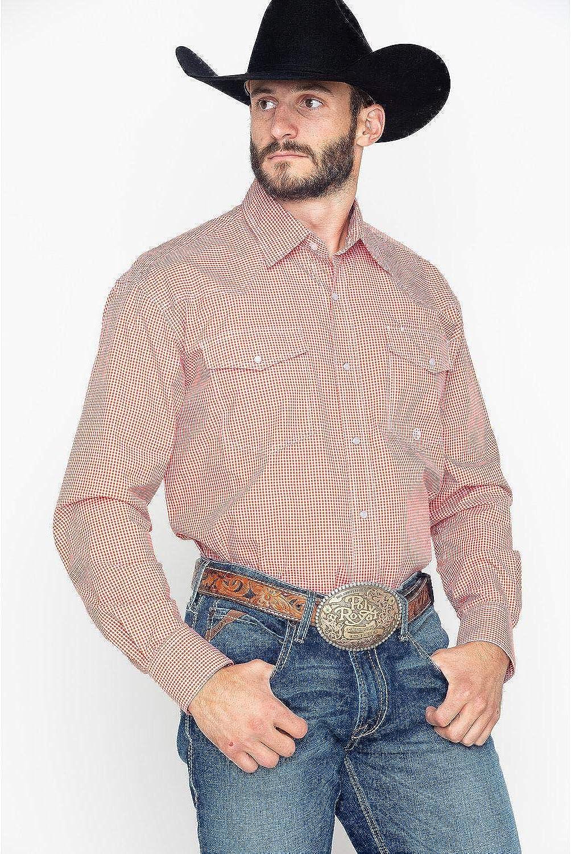 Roper Mens Indigo Blues Mini Check Plaid Long Sleeve Shirt 03-001-0278-3005