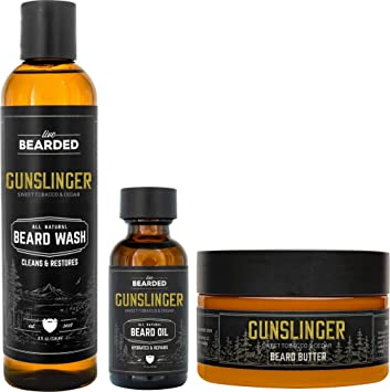Live Bearded: 3-Step Beard Grooming Kit - Gunslinger - Beard Wash, Beard Oil and Beard Butter - All-Natural Ingredients with Shea Butter, Jojoba Oil and More - Beard Growth Support - Made in the USA