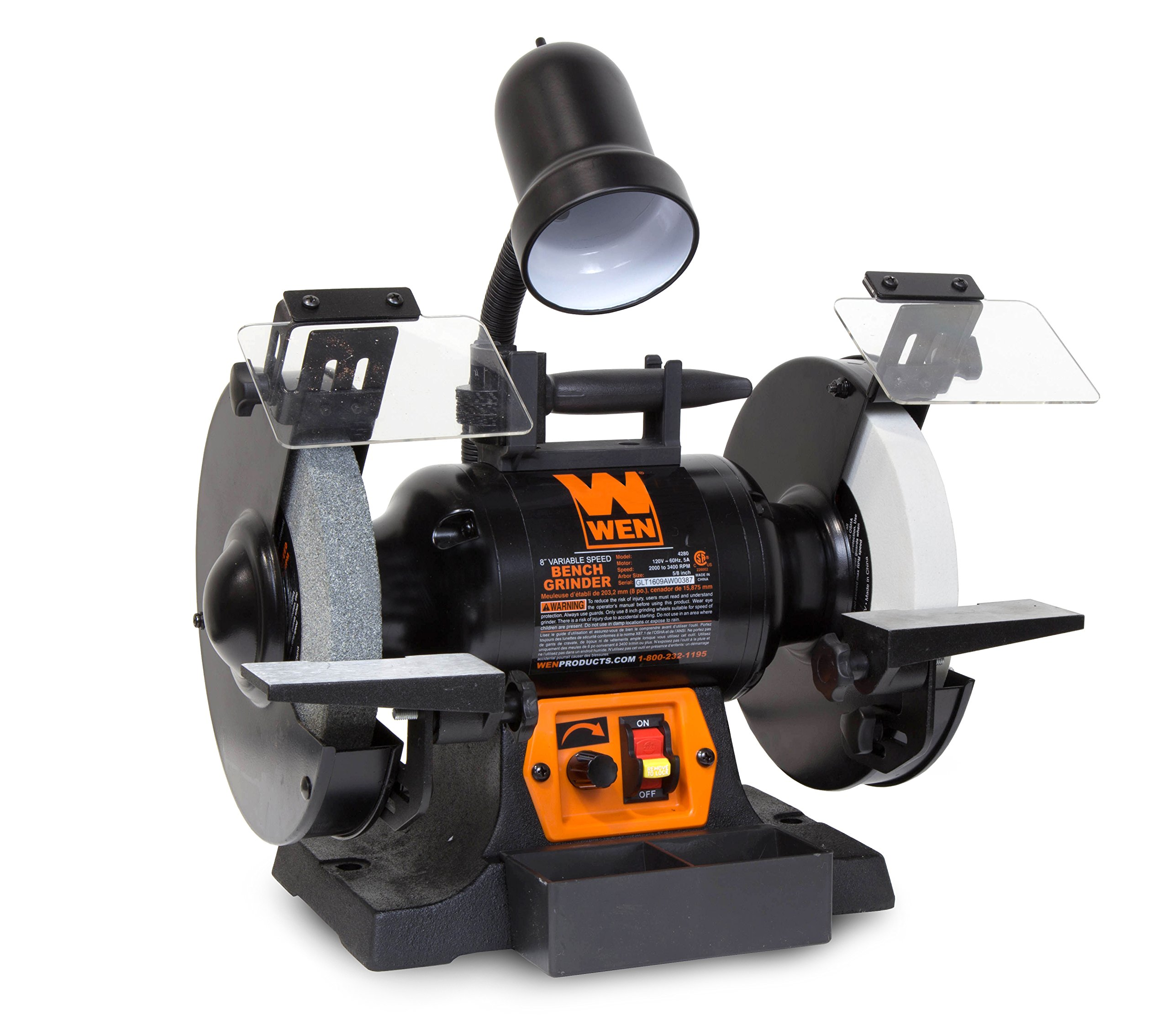 WEN 4280 5 Amp 8'' Variable Speed Bench Grinder with Work Light