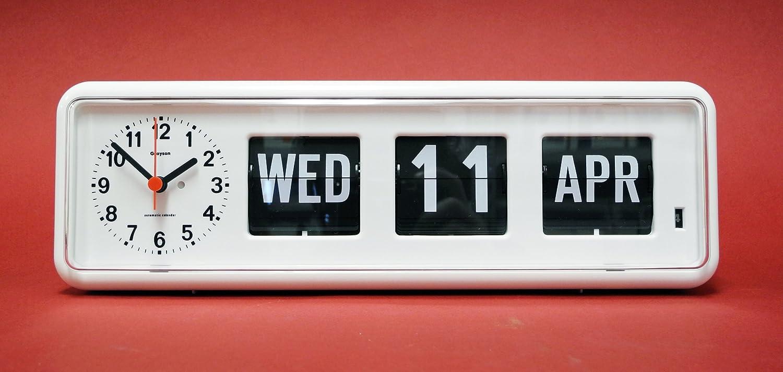 White Desktop 'Perpetual Calendar' Clock - G236A - 'Dementia and ...