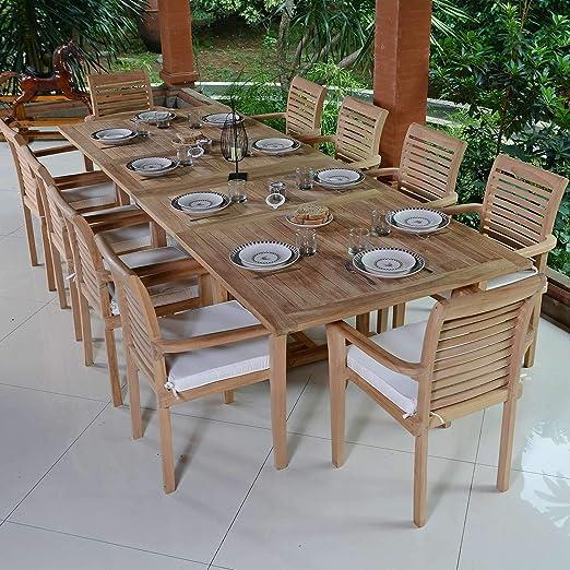 Salón de jardín en teca ecograde Mahina, mesa extensible (1.96 de 2.96 M + 10 sillas Samoa: Amazon.es: Jardín