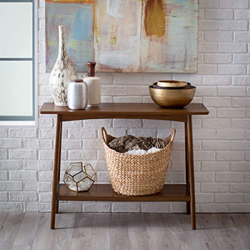 Walnut Finish Wood Mid Century Modern Console Table Living Room Sofa Table with Lower Display Shelf
