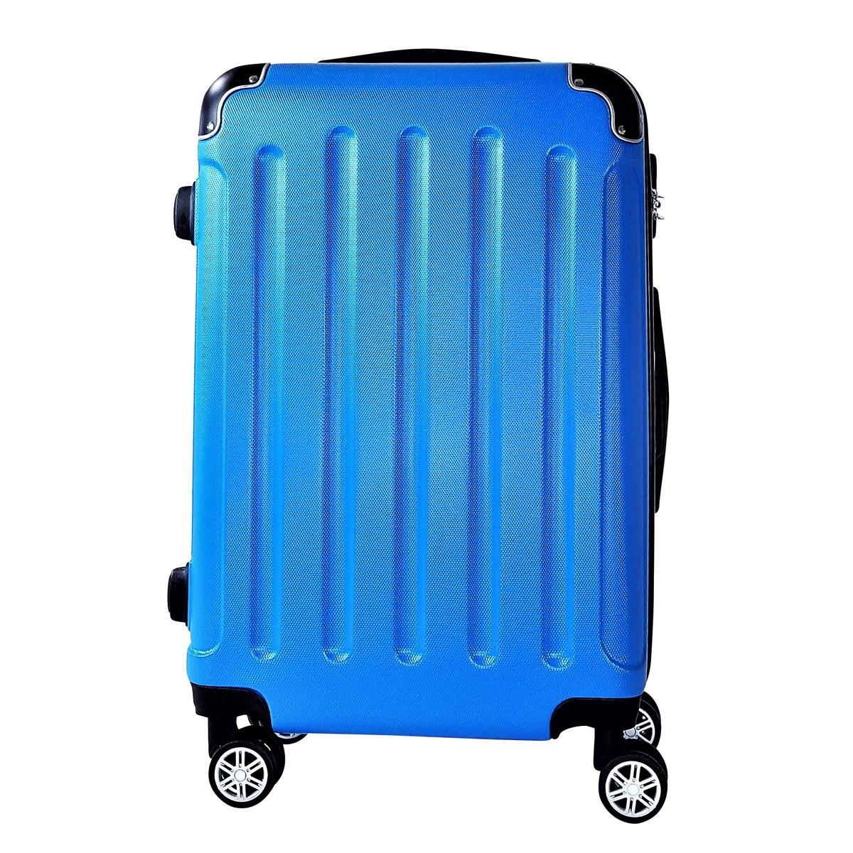 Reisekoffer BERLIN Hartschale Trolley M / 55cm / Handgepäck Reise Koffer Case Tasche Trolly Cabine (Blau) QTC-1026_DR-M