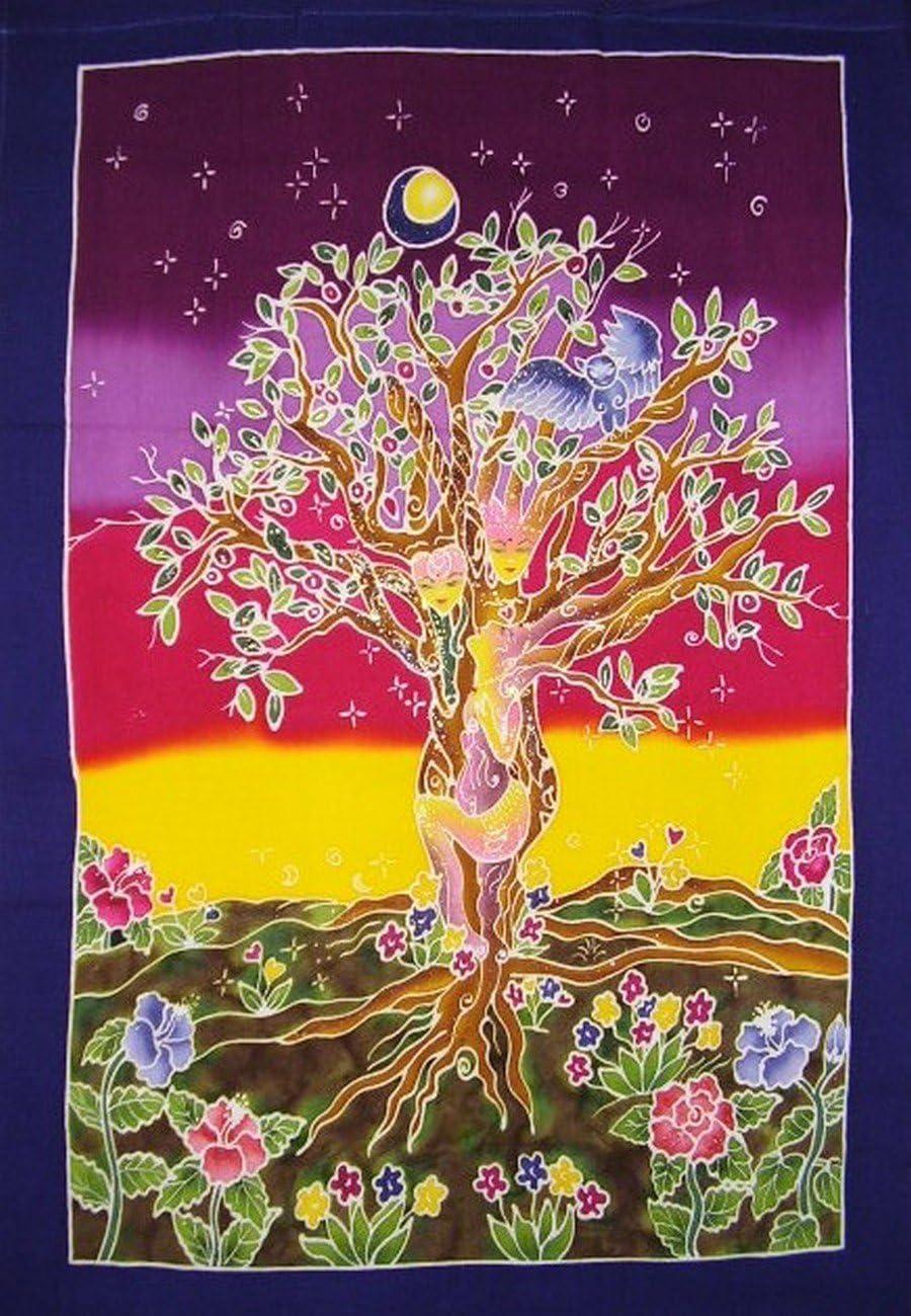 Shakina Authentic Batik Textile Art Tree Sisters II 31 x 23 Multi Color