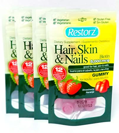 Restorz Biotin 5000mcg Gummies for Longer, Stronger & Healthier Hair Growth, Glowing Skin and
